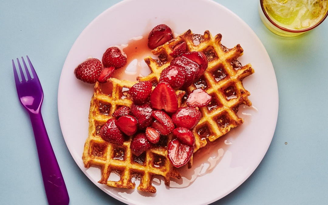 Cornmeal Waffles with Strawberry Syrup (Bon Appétit)